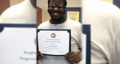 Congressman Recognizes Edison Job Corps Student